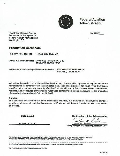 Trace Engine Gets Faa Production Certificate Sealand Aviation Ltd